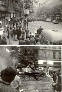 1968, srpen, časně ráno u Rozhlasu a o něco později