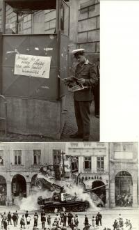 1968, srpen, momentky z okupace, Praha (nahoře) a Liberec (dole)
