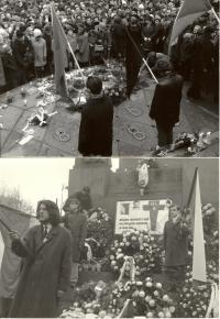 1969, leden, tryzna za Jana Palacha, Václavské náměstí, detail