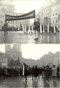 1969, leden, tryzna za Jana Palacha, smuteční průvod na Staroměstském náměstí, na snímku dole budoucí herečka Andrea Čunderlíkov
