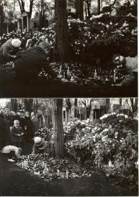 1969, leden, hrob Jana Palacha, Praha, Olšanské hřbitovy