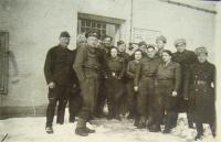 Prešov, end of January 1945, staff of advanced judgement, in downstage on the left side Michal Straka