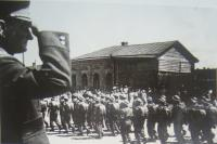 General Sergej Ingr saluting to czechoslovak army forces