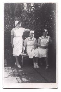 Nurse Irena Trojanová in 1949 (standing woman)