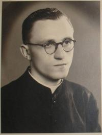 Bernard Bokor in the first year of the Catholic seminary