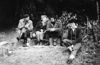 Erika Bednářová v zaměstnání u lesa, asi 1965