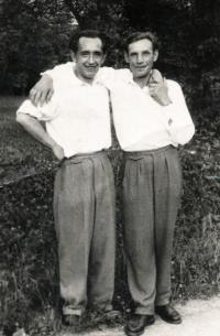 Erika Bednářová's husband Oldřich Bednář on the left