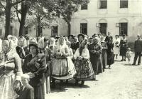 The procession during the feast of Corpus Christi in Huzová, 1953