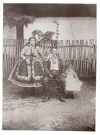 Grandfather Šalamun in nationa costume of Moravian Croats
