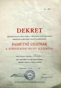 dekret k udělení Pamětní odznak 8.střeleckého pluku Slezského