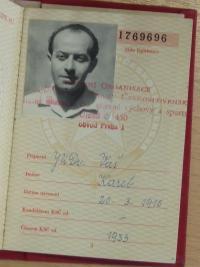 Karel Vaš, jeho legitimace KSČ