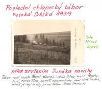 Poslední chlapecký tábor ve Vysoké Srbské před zrušením Junáka nacisty r. 1939. Tábor vedl Franta Štancl, táborníci: Láďa Bůna, bratři Bischofové, Honza Tůma, na další nevzpomínám, snad Láďa Ducháč, taktéž já, byl to můj první tábor.