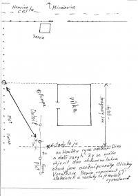 Plánek, kam zakopal dopisy na zahradě domku v Hrusicích před svým pokusem o ilegální přechod českých hranic