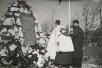 Piety at the original memorial in Zákřov