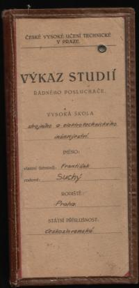 Vysokoškolský index Františka Suchého (3)