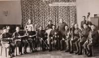 In music troop, Sigmund Hladík is the first from the left side
