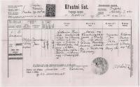 Jaroslav Hnátek´s birh certificate - J.J.Pála was his godfather