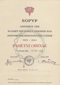 Memorial badge, October 1948