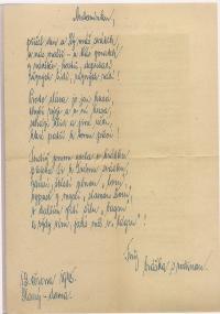 Přání Josefa Hnátka bratrovi po návratu z koncentračních táborů 13. 6. 1945