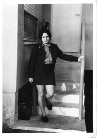 Kateřina Bittmanová ve vojenské uniformě, Izrael, 70. léta