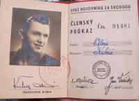 Členský průkaz Aloise Kubiše  ve Svazu bojovníků za svobodu