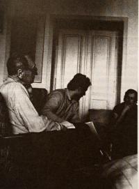 S Václavem Havlem a Jiřím Hájkem, 1986