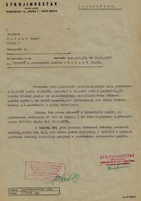"""Prohlášení o propuštění z pracovního poměru z firmy Strojinvestav, na základě toho, že pamětník neprojevil """"klapoklides"""" – kladný postoj k lidově- demokratickému zřízení, 1970"""