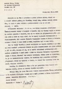 Dopis Karla Bažanta, v němž žádal o přejmenování jedné pražské ulice na ulici gen. Píky, 1990