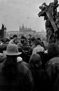 Student Christmas in 1989 on Charles Bridge.