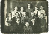 Children from Galychyna. The first in upper raw from the left side Teklya Tykhan. Troyetskoye. Kazakhstan.1940-1941.