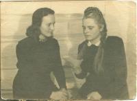 Teklya with her friend Anna Sirko from Brody. Krasnoyarsk region, 1947-1948