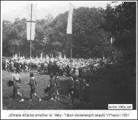 Jičínská vlčata na Jamboree slovanských skautů v roce 1931 nebo v Jičíně na školním hřišti (soukromý archiv Jana Vally); součástí předepsané výbavy účastníků byla jak vidno novinka-kecky