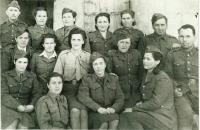 Women in the Czechoslovak army, in a white shirt sits Josefa Reicinová, on her right Pelagia Andresová