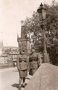 Sylvie Laštovičková and Věra Biněvská, 17th May 1945, Prague
