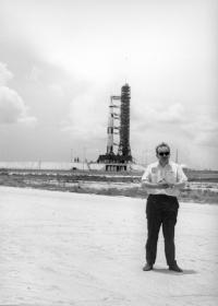 Karel Pacner In Front of the Saturn Rocket Carrying Apollo 11