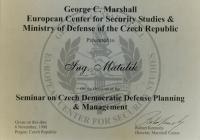 Diplom ze semináře o plánování obrany