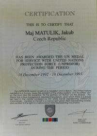 Certifikát k medaili za službu v UNPROFOR