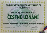 Čestné uznání od Sdružení válečných veteránů