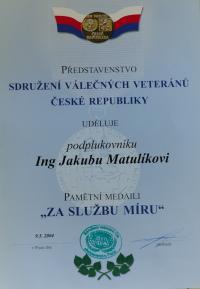 Certifikát k medaili od Sdružení válečných veteránů