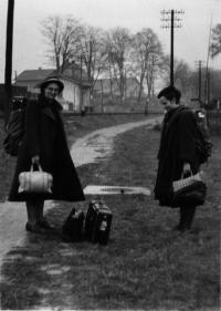 The morning after the all-night crossing of the border in Bavaria, Oct 1949 (the case on the ground belongs to the photographer)