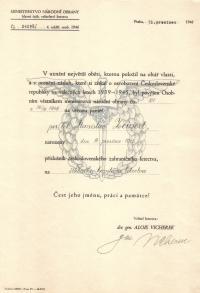 Povýšení in memoriam Stanislava Zeinerta