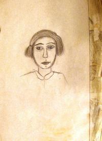 Stránka z terezínského deníku Maud Stecklmacherové. Autoportrét, 1943.