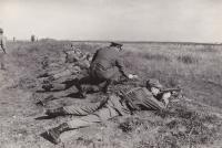 Oldřich Hukal training a troop at the shooting range in Horní Počernice, 1969