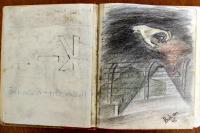 ilustrace Jehudy Bakona v rukopise vzpomínek jeho přítele Sinaje (Wolfi) Adlera