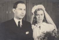 Miloš Lokajíček se ženou, svatební fotografie, konec 40. let
