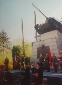 Memorial with a destroyed tank in Ostrava