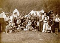 Fotografie z  tábora 1. oddílu Ostrava (Domoradovice 1934)
