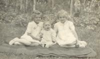 With her sisters in 1944