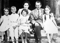 The re-united family after the war in Enns, Upper Austria