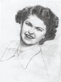 Portrait of his wife-to-be Růžena, drawn by Ladislav Bartůnek in the labor camp